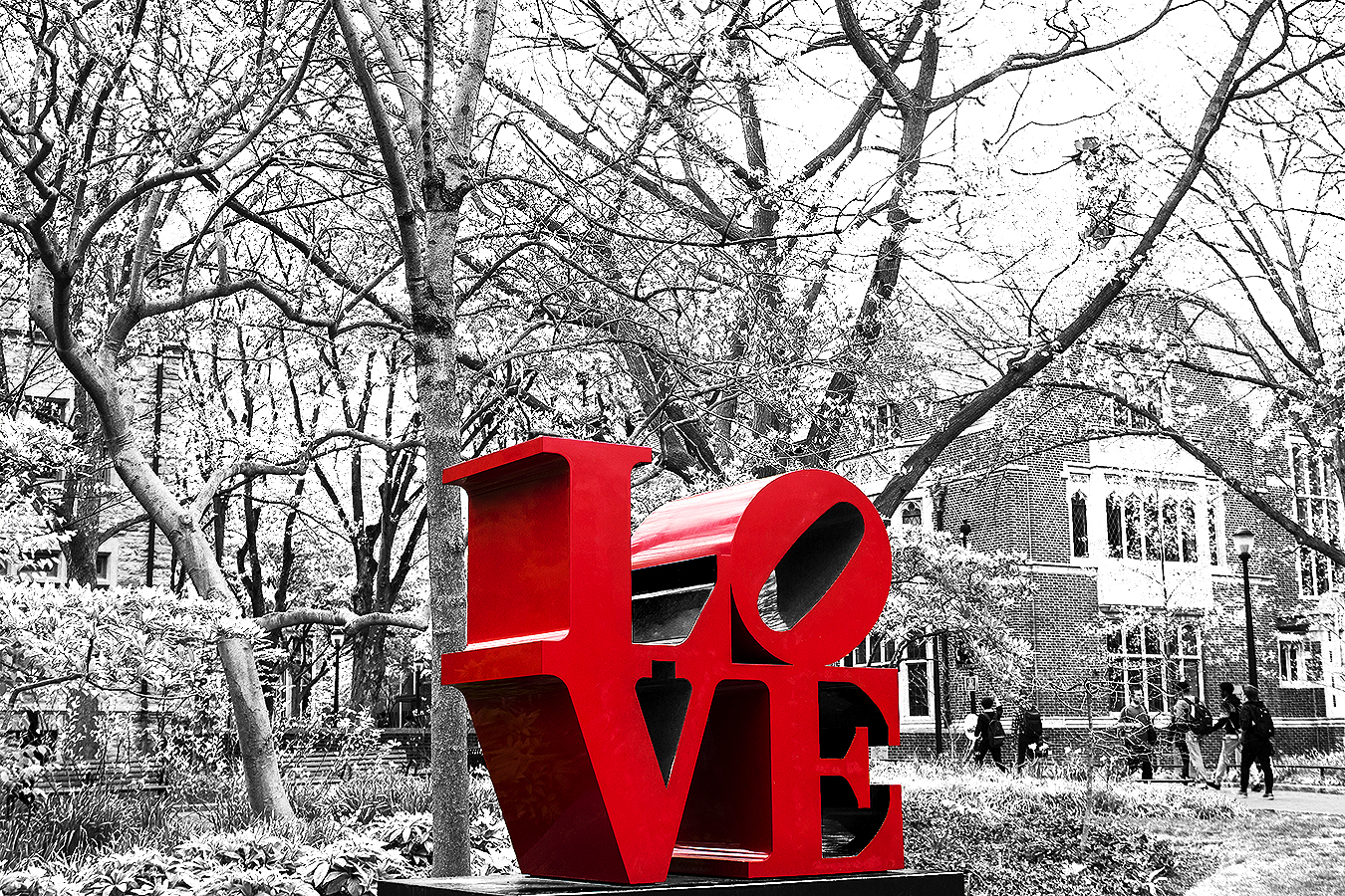 Janelle_Tong_Photography_Tony_Ward_Studio_Political_Project_UPenn_1_Fight_Hate_with_Love_Statue_College_Green_Black_and_White_Red