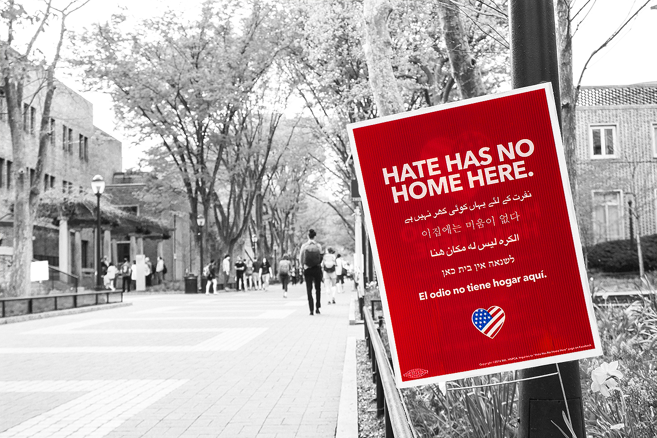Janelle_Tong_Photography_Tony_Ward_Studio_Political_Project_UPenn_2_Fight_Hate_with_Love_Locust_Walk_Black_and_White_Red