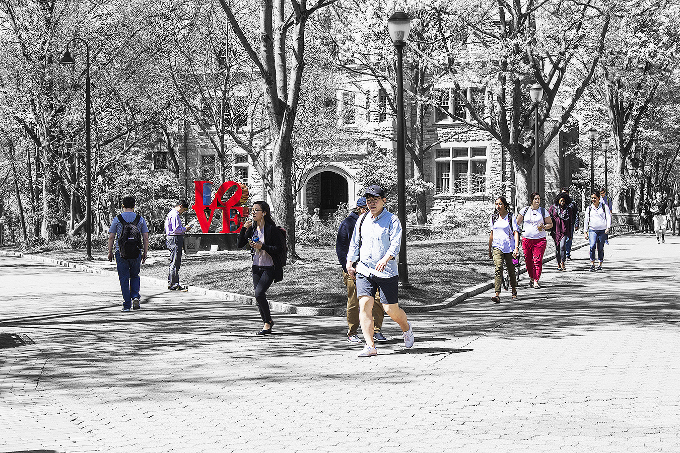 Janelle_Tong_Photography_Tony_Ward_Studio_Political_Project_UPenn_5_Fight_Love_With_Hate_Statue_Locust_Walk_College_Green_Black_and_White