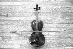 Janelle_Tong_Photography_Tony_Ward_Studio_Still_Life_UPenn_Houston_Hall_Violin_Carbon_Fiber_Wooden_Floor_Birdseye_View_Black_and_White_1