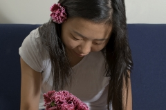 Karen_Liao_portraiture_photography_studio_lighting_flowers_in_hair_pink_soft_smile