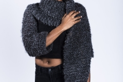 Jessica_Moh_Tony_Ward_Studio_Fashion_Photography_Kevin_Stewart_Kay_Davis_Female_Model_Knit_Scarf_One_Sleeve_Hand_On_Shoulder