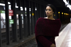 RIA_VAIDYA_KEVIN_STEWART_OLD_SCHOOL_SHIRTMAKER_NEWYORK_KNIT_WEAR_KAY_DAVIS_GIRL_MODEL_FASHION_SWEATER_TRAIN_STATION_DARK_TONES