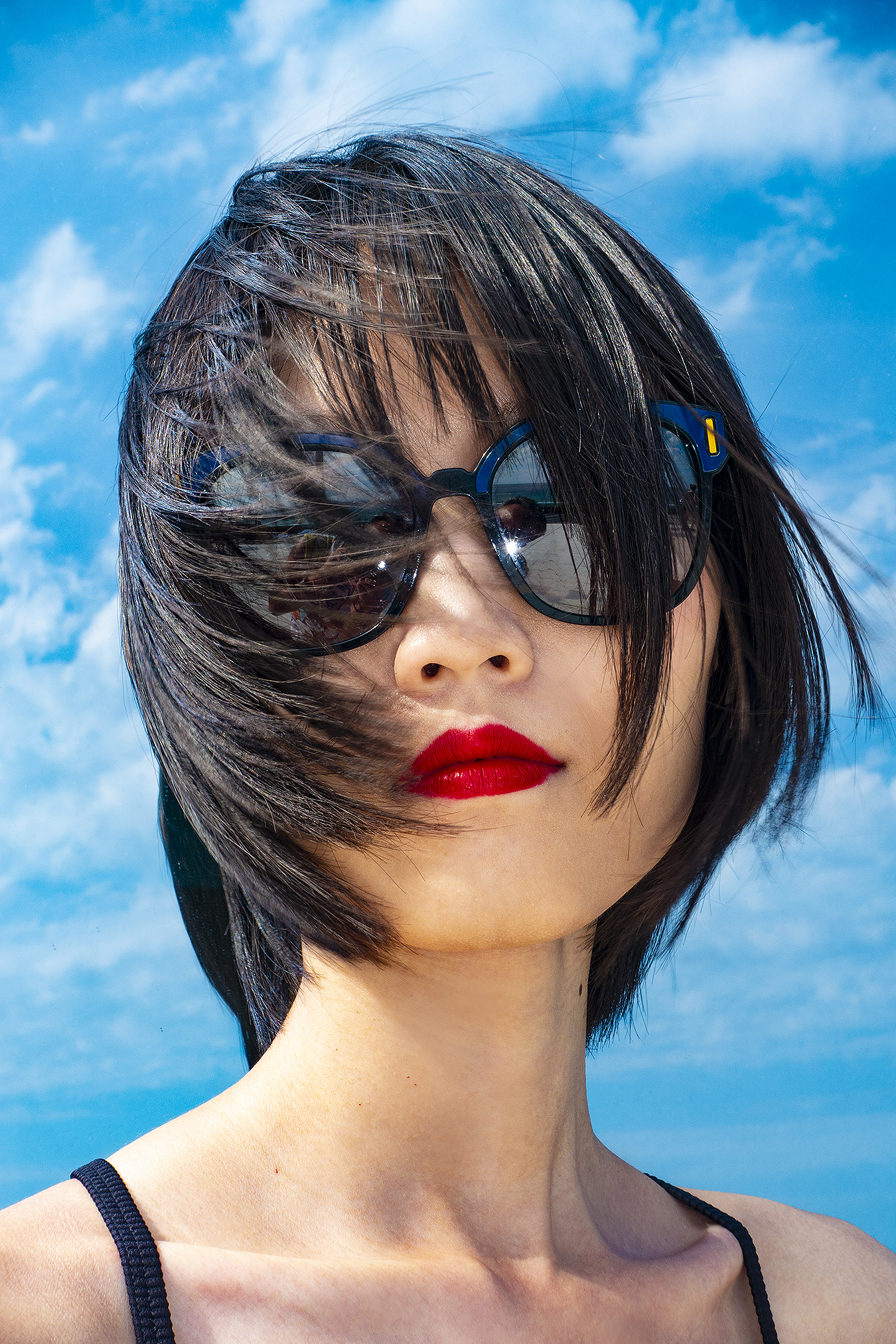 Tony_Ward_Studio_portrait_Linda_Ruan_black_bathing_suit_fashion_Prada_sunglasses