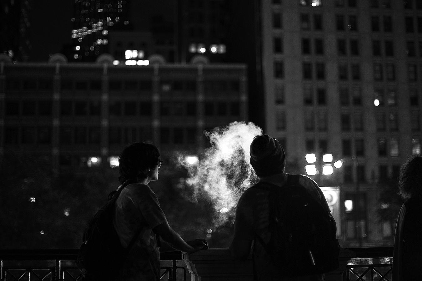 Linda_Ruan_smoking_at_night_silhouette_black_and_white_Chicago