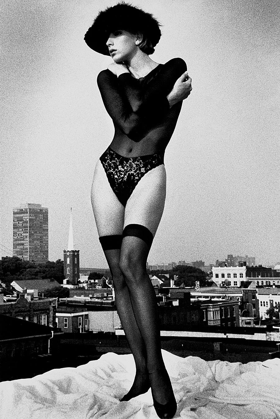 Tony_Ward_early_portfolio_classics_vintage_fashion_hat_lingerie_thigh_highs_rooftop