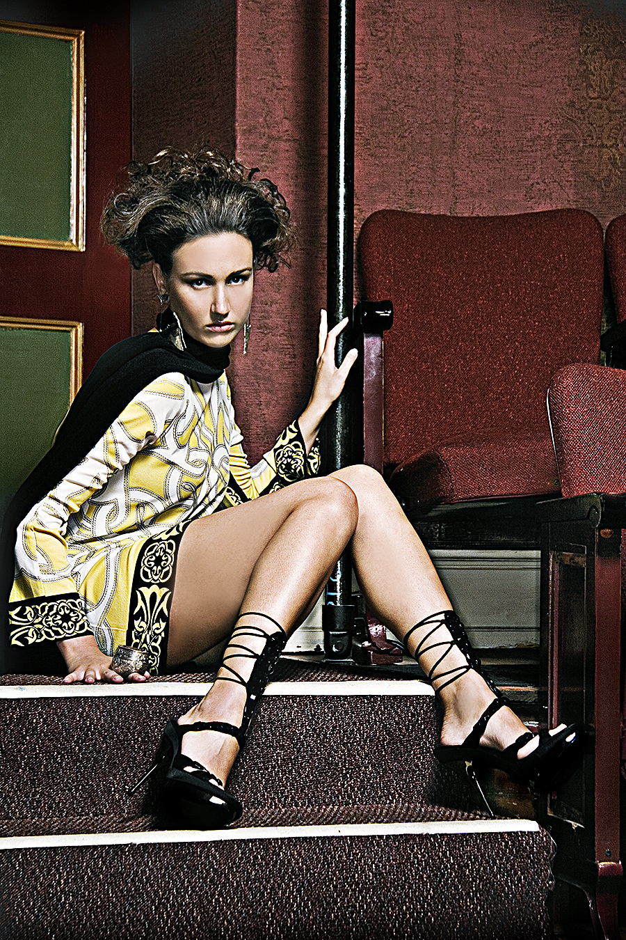Tony_Ward_fashion_shoot_vintage_Versace_theater_setting_stylish_hair_heels_earrings