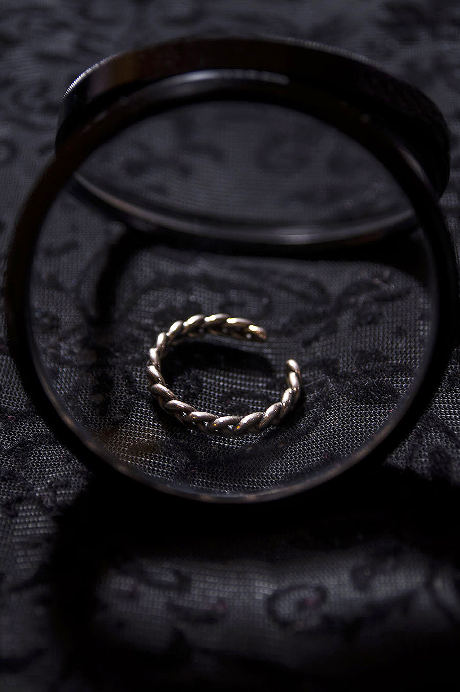 Rebecca_Huang_still_life_photography_dark_velvet_accessories_rings_jewelry_lens_magnifying_reflection_silver_braided_weaved_floral