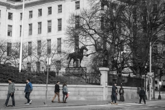 Rebecca_Huang_Boston_Boston_Commons_Paul_Revere_Statue_State_House_tourists_walking_selective_black_and_white_color