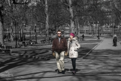 Rebecca_Huang_Boston_Boston_Commons_couple_strolling_afternoon_sunny_cold_chatting_gesturing_selective_black_and_white_color