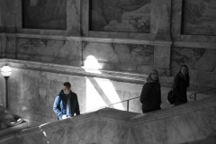 Rebecca_Huang_Boston_Public_Library_entrance_stairs_marble_tourists_selective_black_and_white_color