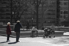 Rebecca_Huang_Philadelphia_Rittenhouse_Square_Afternoon_Stroll_elderly_chatting_laughing_selective_black_and_white