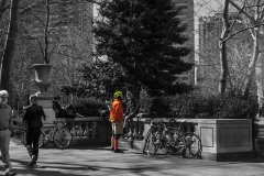 Rebecca_Huang_Philadelphia_Rittenhouse_Square_Biker_pink_standing_selective_black_and_white