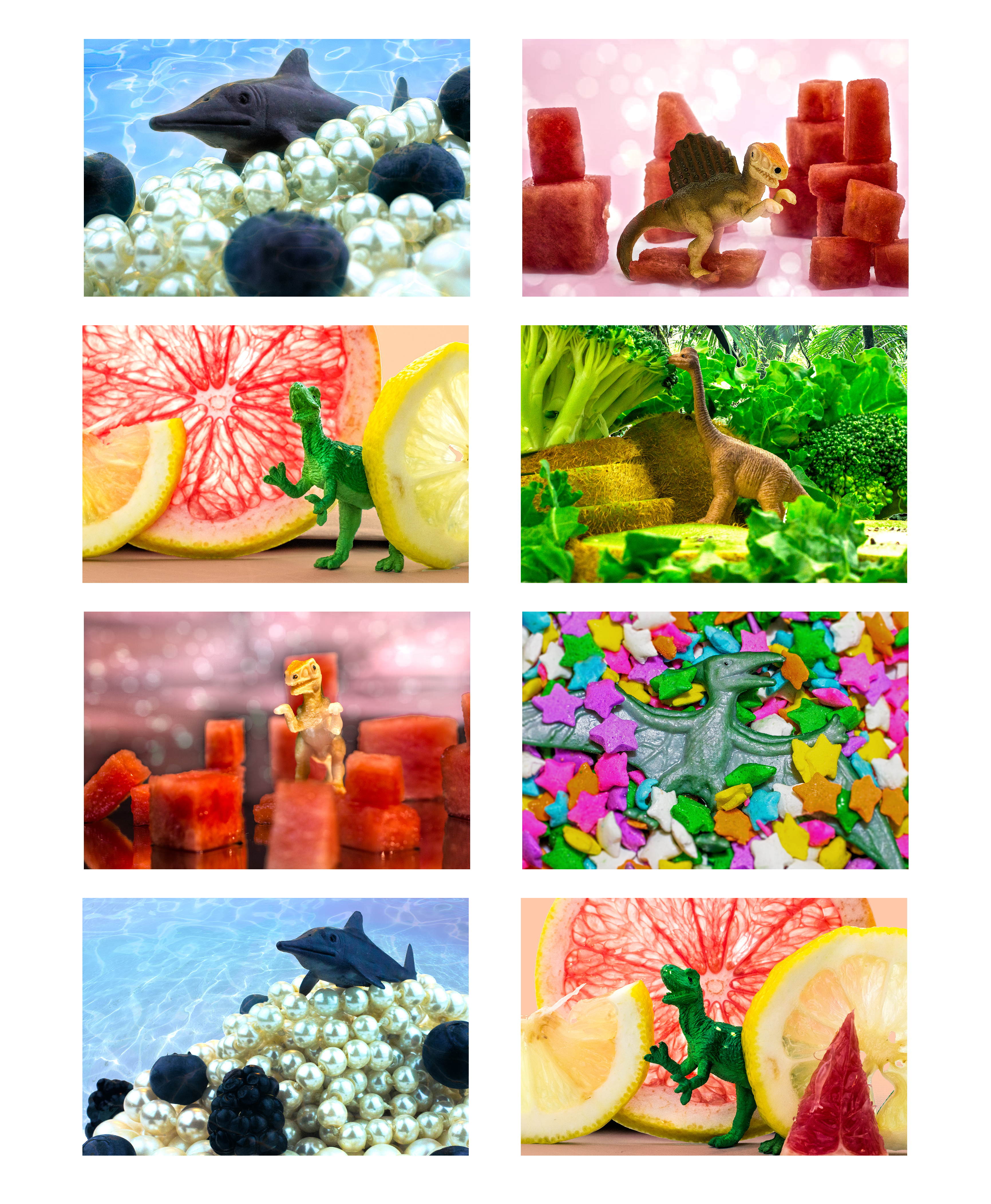 Victoria_Meng_Project2_Layout_Dinosaurs_Macro_Still_Life_Surreal_Colorful_Food_Sprinkles_Fruit