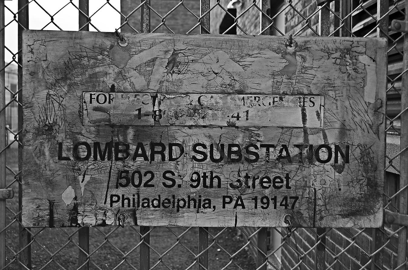 substation sign Lombard street Philadelphia