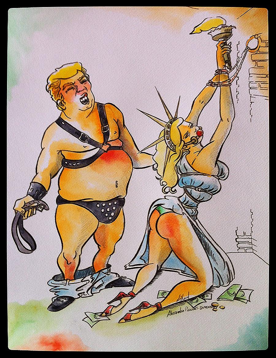 Alexandra_Rouvet_Duvernoy_artist_France_pen_ink_color_anti_Trump_propaganda