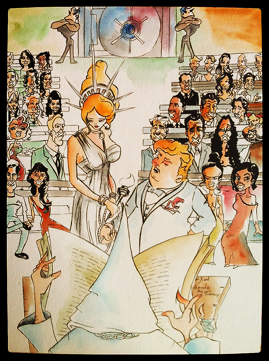 Alexandra_Rouvet_artist_France_pen_ink_color_anti_Trump_propaganda_Lady_Liberty_marriage