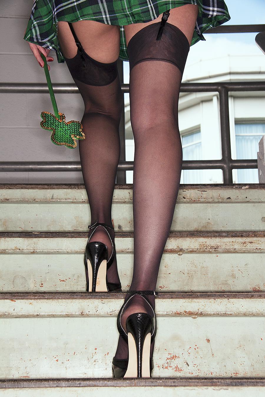 lucky lepricon high heels thigh highs upskirt st patricks day