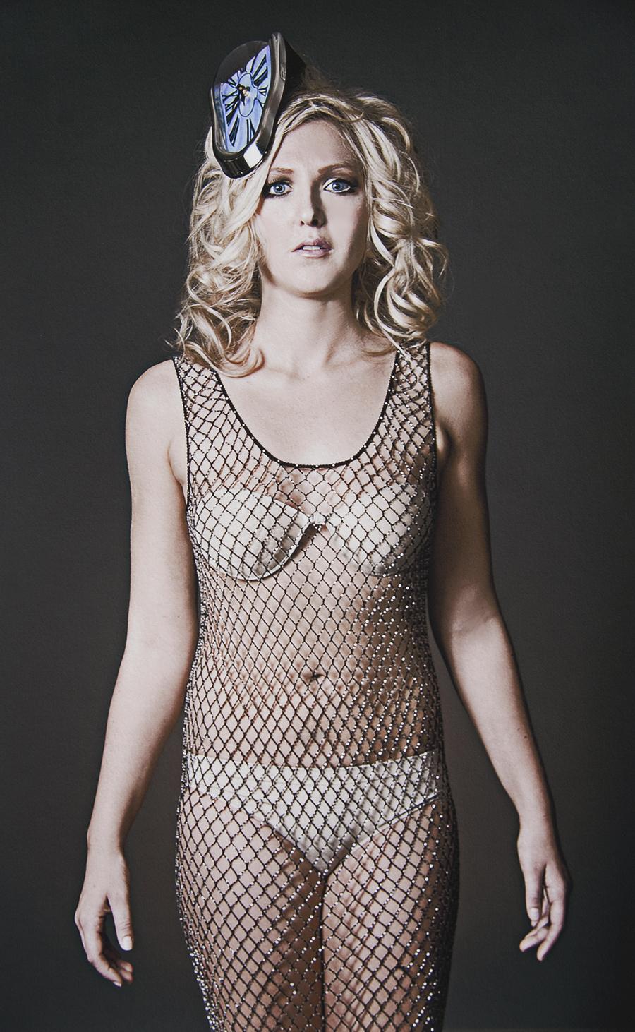 Tony_Ward_fashion_photography_model_Dyana_Baurley_Heidi_lee_miliner_New_York_fishnet_bodysuit_beige_bra_panty_set_melting_clock_Dali_inspiration_portrait