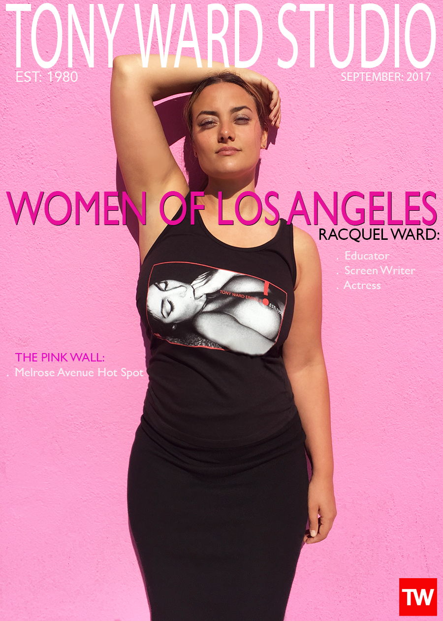 Tony_Ward_photography_Photographer_September_homepage_cover_actress_Racquel_Ward_Hollywood_California_Melrose_avenue_pink_wall_t-shirts_erotica