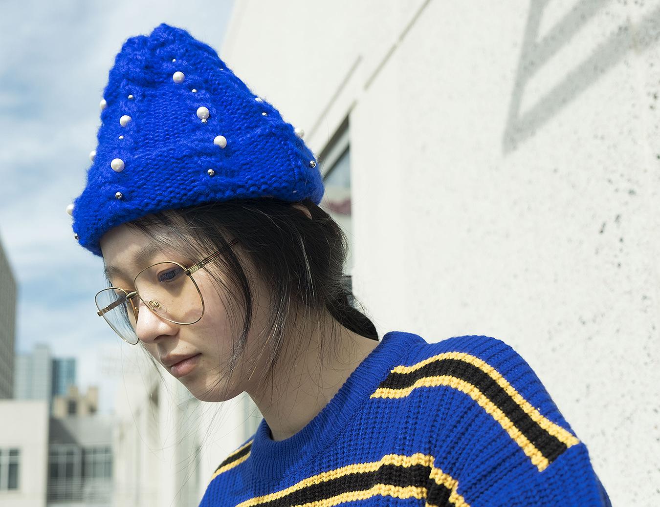 RONGRONG_LIU_STREET_fashion_photography_modern_blue_hat_Asian_student_UPenn