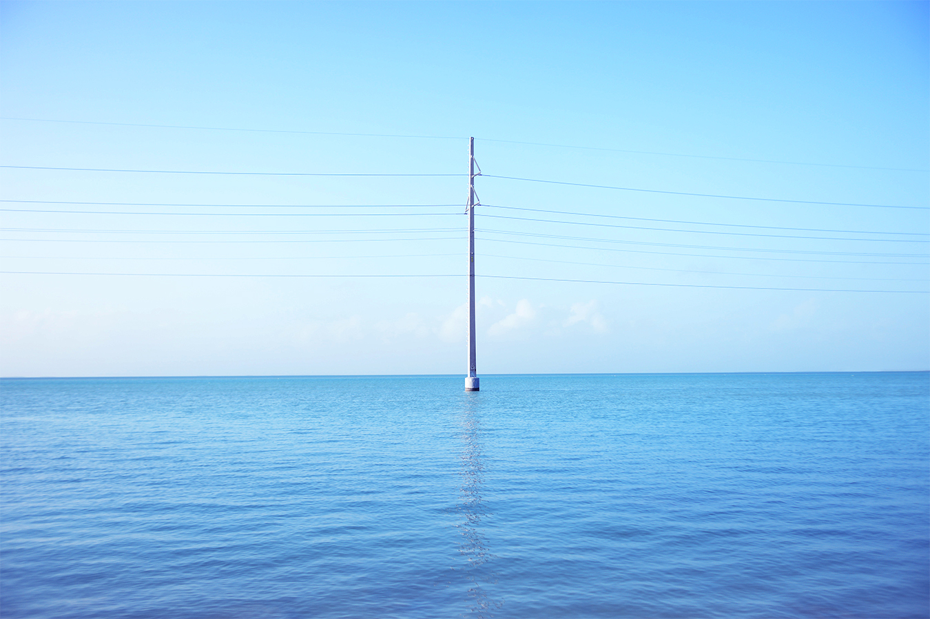 The wire pole in the sea. Photographed in Key West, the southernmost place of United States.