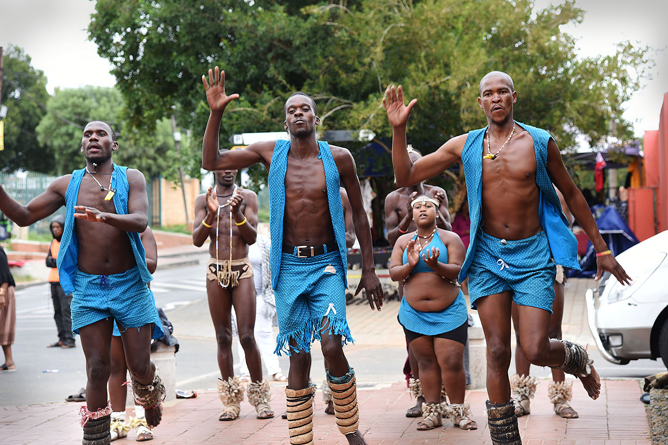 Native South African dancers outside Nelson Mandela's house in Johannesburg