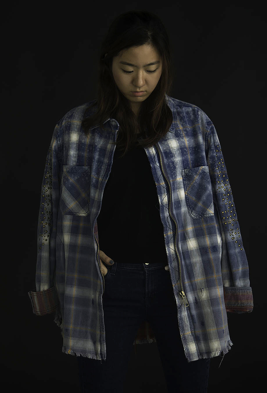 Joy_Lewis_fashion_photography_JACKETS_FLANNEL_WITH_STUDS_OVER_SHOULDERS