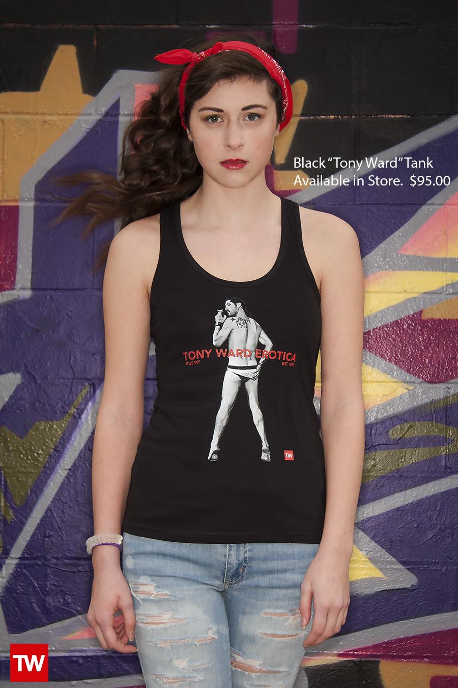 Tony_Ward_Studio_e_commerce_store_t-shirts_black_Kiss_My_tank_sale_model_Caralisa