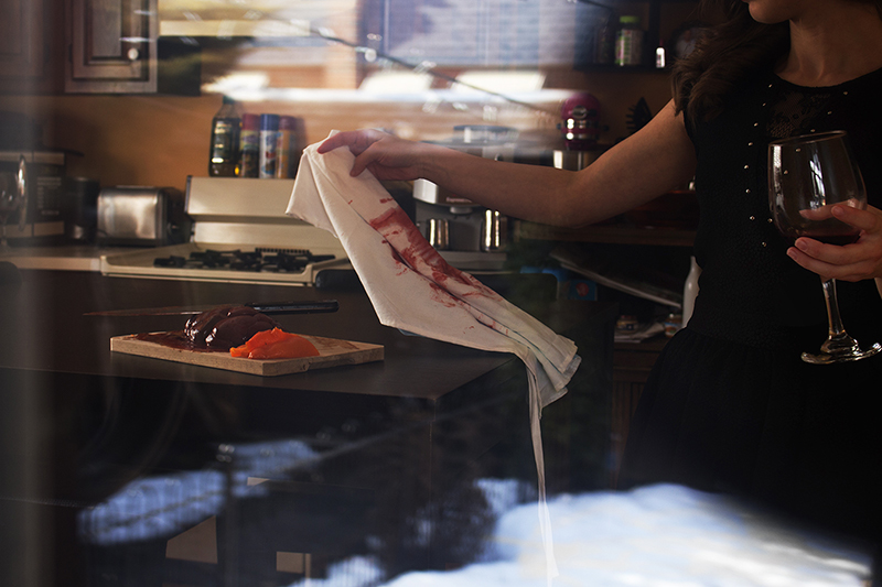 photo of blood stained apron in contemporary kitchen