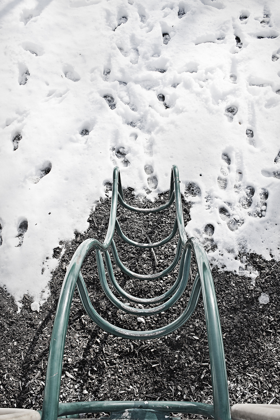 playground toy with snow