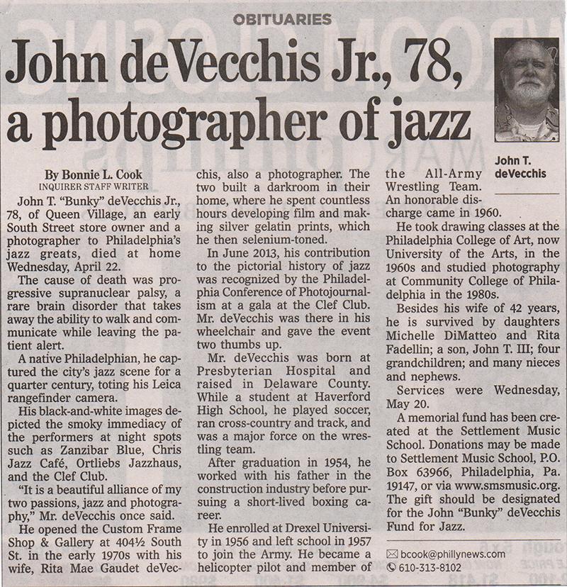 John deVecchis, Bunky, Bunky deVecchis, Philadelphia Photographers, deVecchis Gallery, obituaries