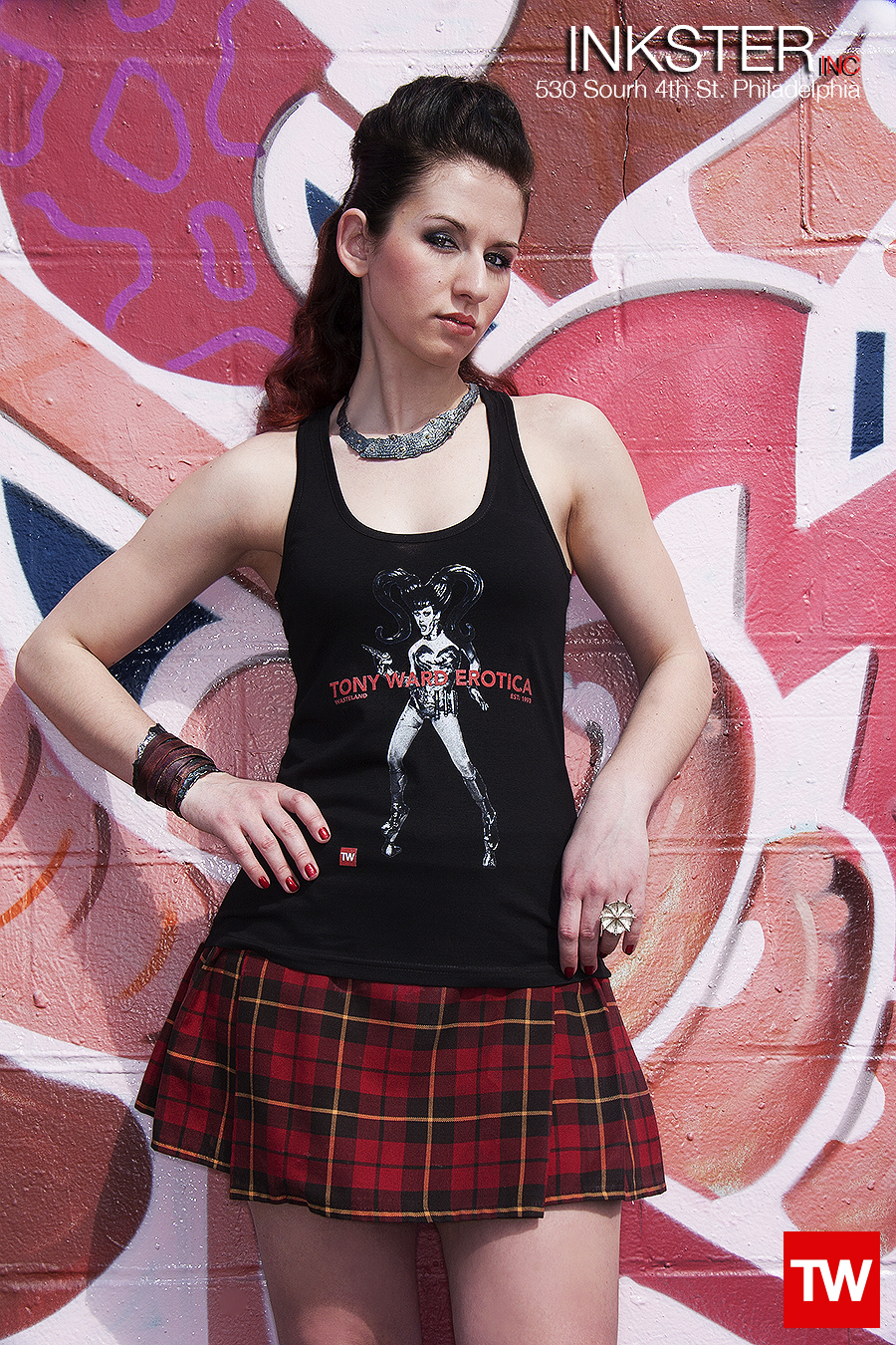 Tony_Ward_Erotica_Wasteland_t-shirt_black_racerback_model_Julia_Craig_stylist_Mindy_Chandler_grafitti_walls_philly_cecil_b_moore_fashion_traditional_kilt