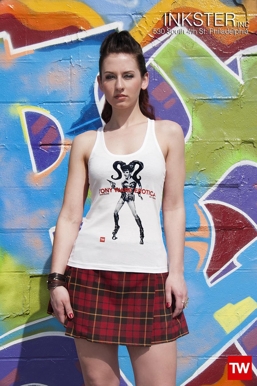 Tony_Ward_Erotica_Wasteland_t-shirt_white_racerback_model_Julia_Craig_stylist_Mindy_Chandler_grafitti_walls_philly_cecil_b_moore_fashion_traditional_kilt
