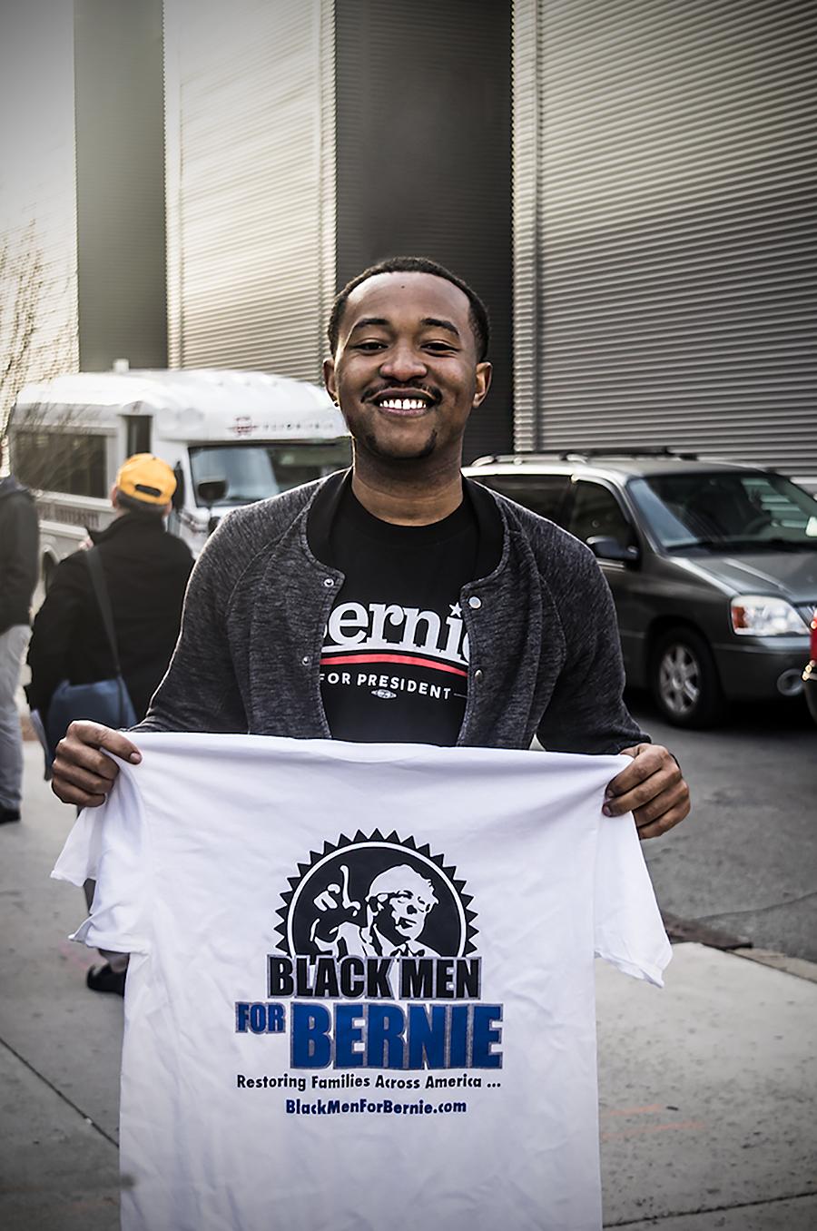Leniqueca_Welcome_Bernie_Sanders_Rally_Blackmen_ tshirts_Supporter_Elections2016_Presedential_Philadelphia