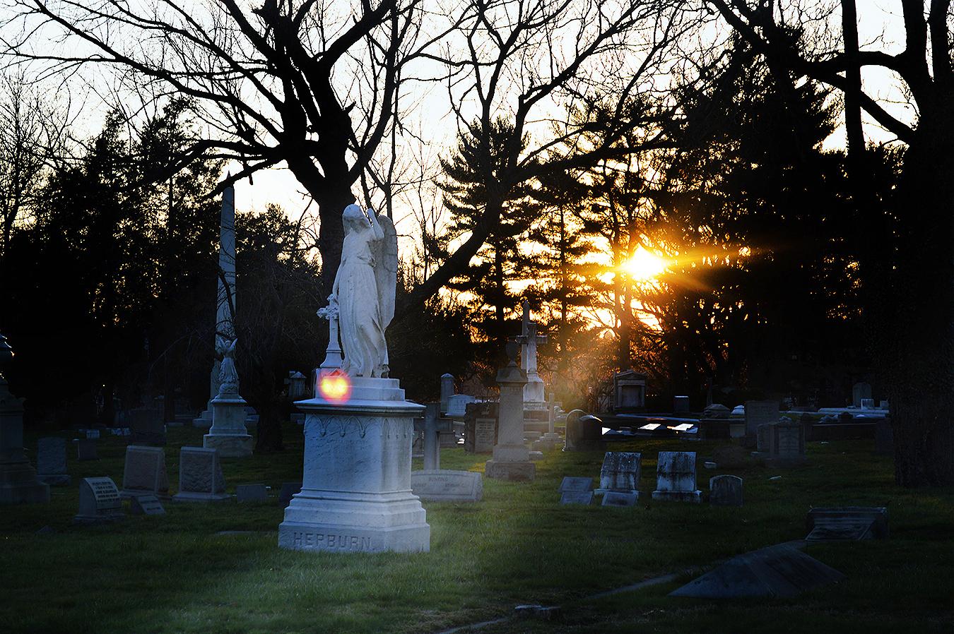 Woodlands_Cemetery_Gravestones_Angel_Sunset_Dusk_Flare_Shadow_Philadelphia_PA