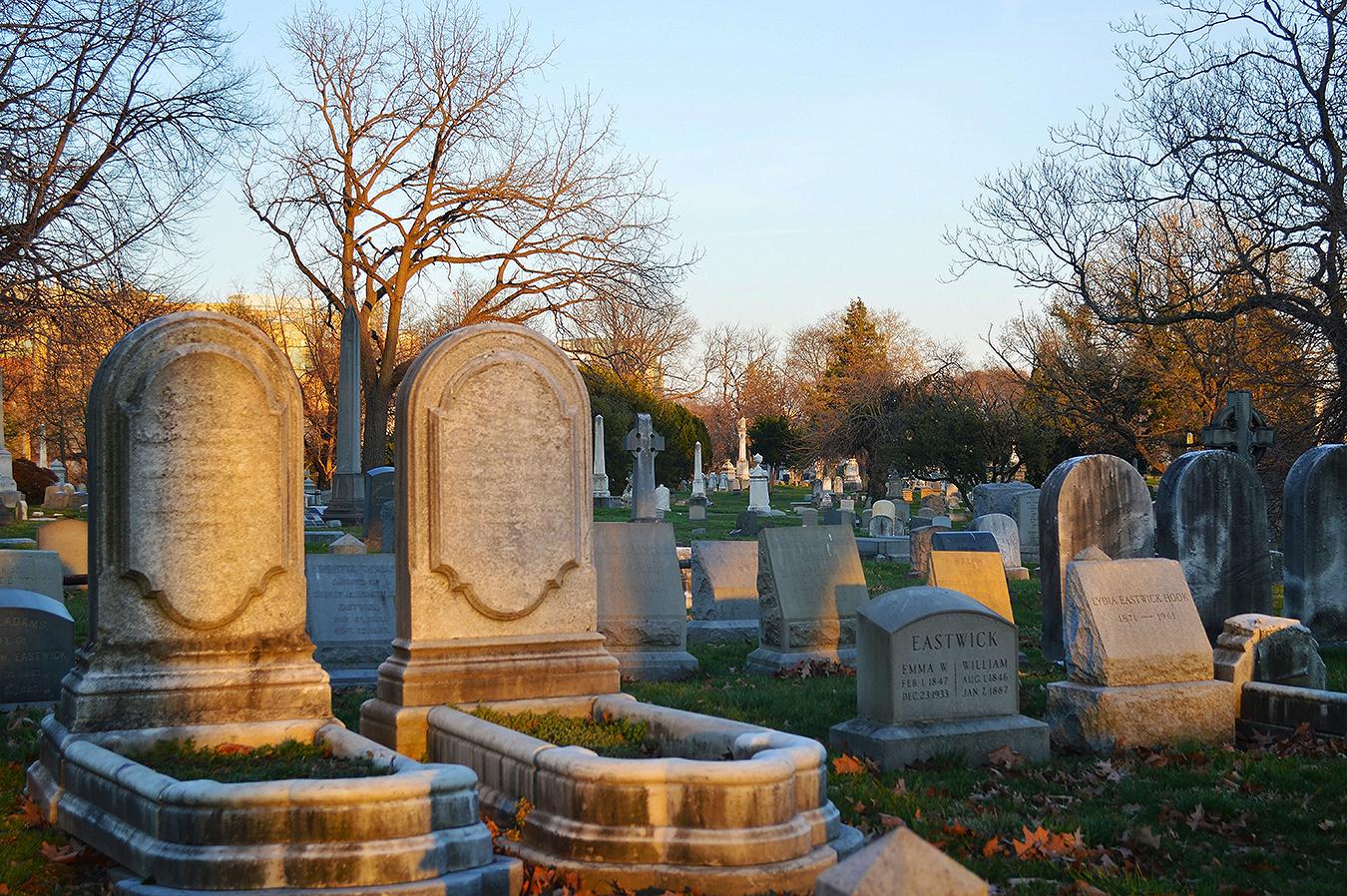 Woodlands_Cemetery_Gravestones_Sunset_Dusk_Philadelphia_PA